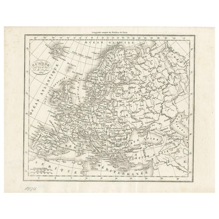 Antique Map of Europe by Dufour, 'circa 1834' For Sale