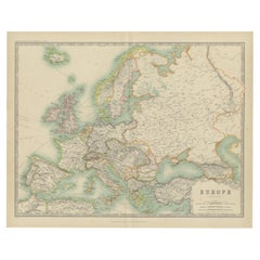 Antique Map of Europe by Johnston '1909'