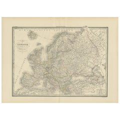 Antique Map of Europe by Lapie, 1842