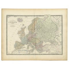 Antique Map of Europe by Levasseur, '1875'