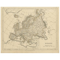Antique Map of Europe by Lowry, 1852