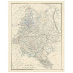 Antique Map of European Russia by A.K. Johnston, 1865