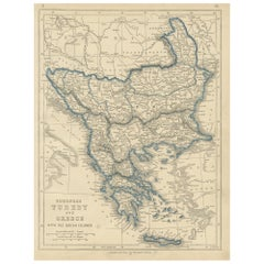 Antique Map of European Turkey and Greece by Lowry '1852'