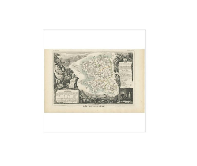 Antique map titled 'Dépt. du Finistère'. Map of the French department of Finistère, Brittany, France. This area of France is known for its cider production and excellent boar hunting. The map also includes the island of Ouessant, which marks the
