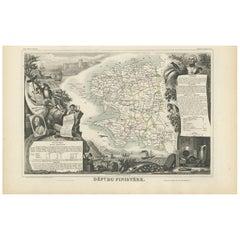 Antique Map of Finistère 'France' by V. Levasseur, 1854