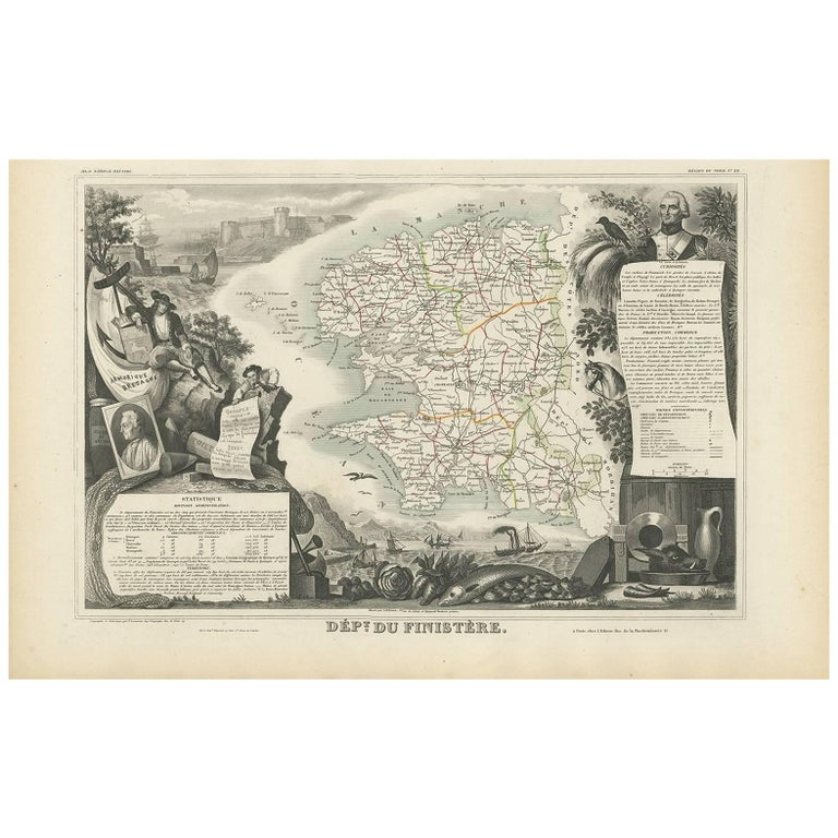 Antique Map of Finistère 'France' by V. Levasseur, 1854 For Sale
