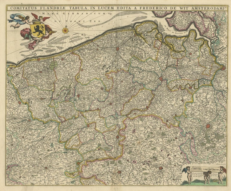 Antique map titled 'Comitatus Flandriae Tabula, in Lucem Edita'. Large map of Flanders, Belgium. Published by F. de Wit, circa 1680.