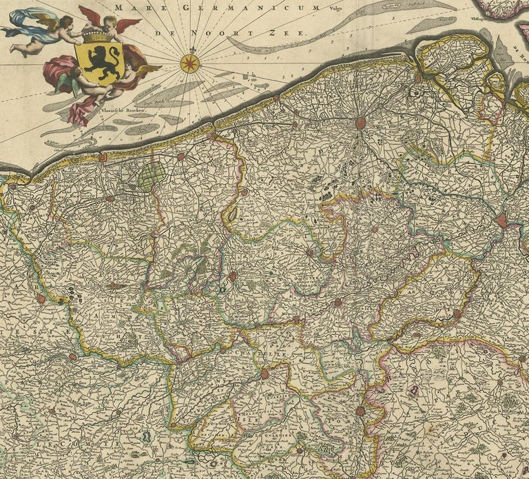 Antique Map of Flanders 'Belgium' by F. de Wit, circa 1680 In Fair Condition For Sale In Langweer, NL