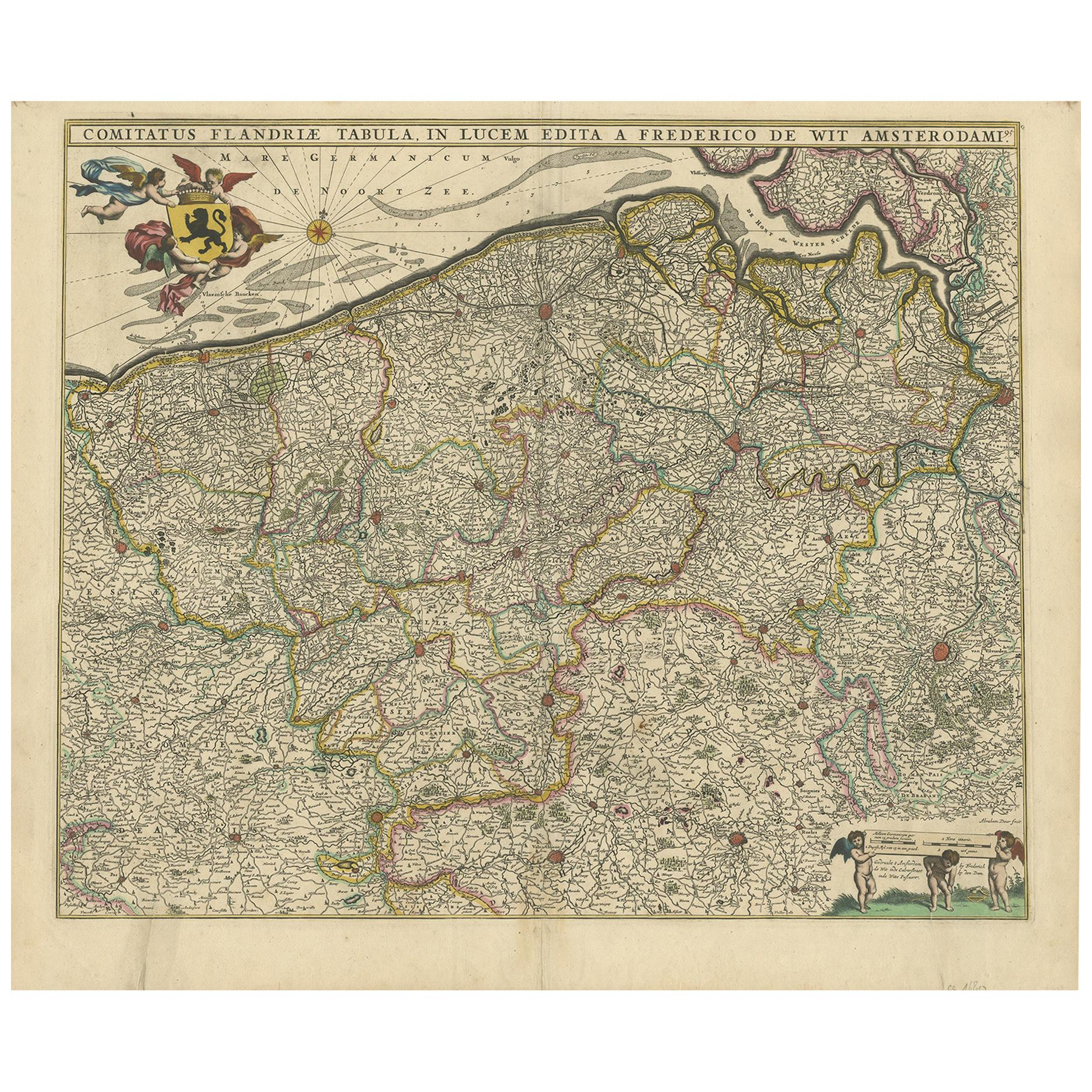 Antique Map of Flanders 'Belgium' by F. de Wit, circa 1680