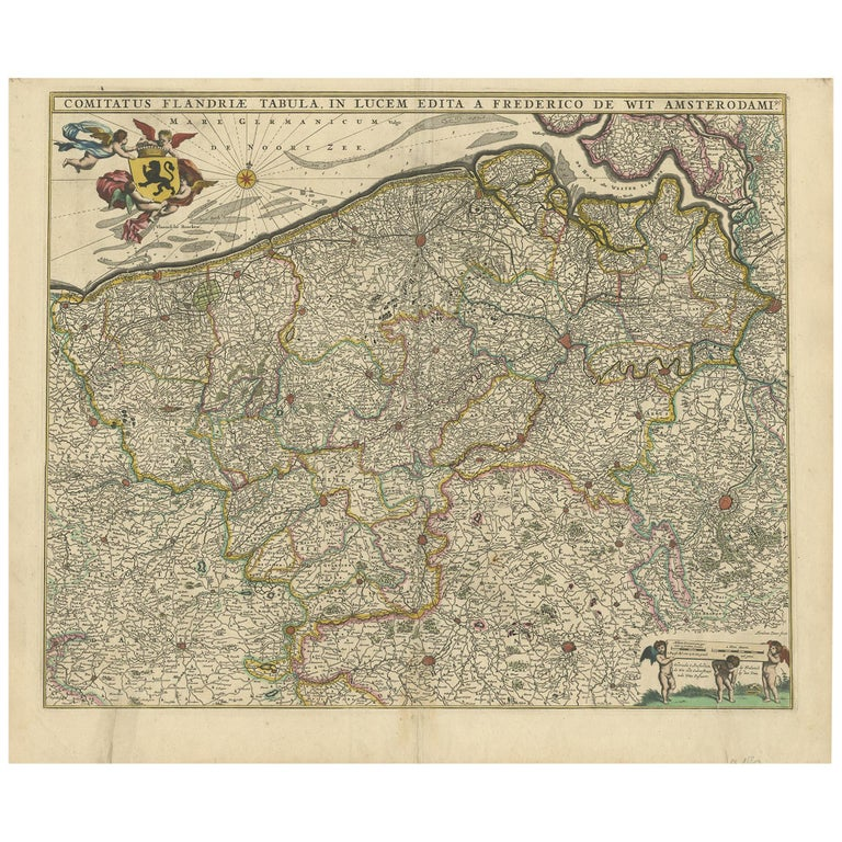 Antique Map of Flanders 'Belgium' by F. de Wit, circa 1680 For Sale