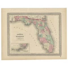 Antique Map of Florida by Johnson, 1872