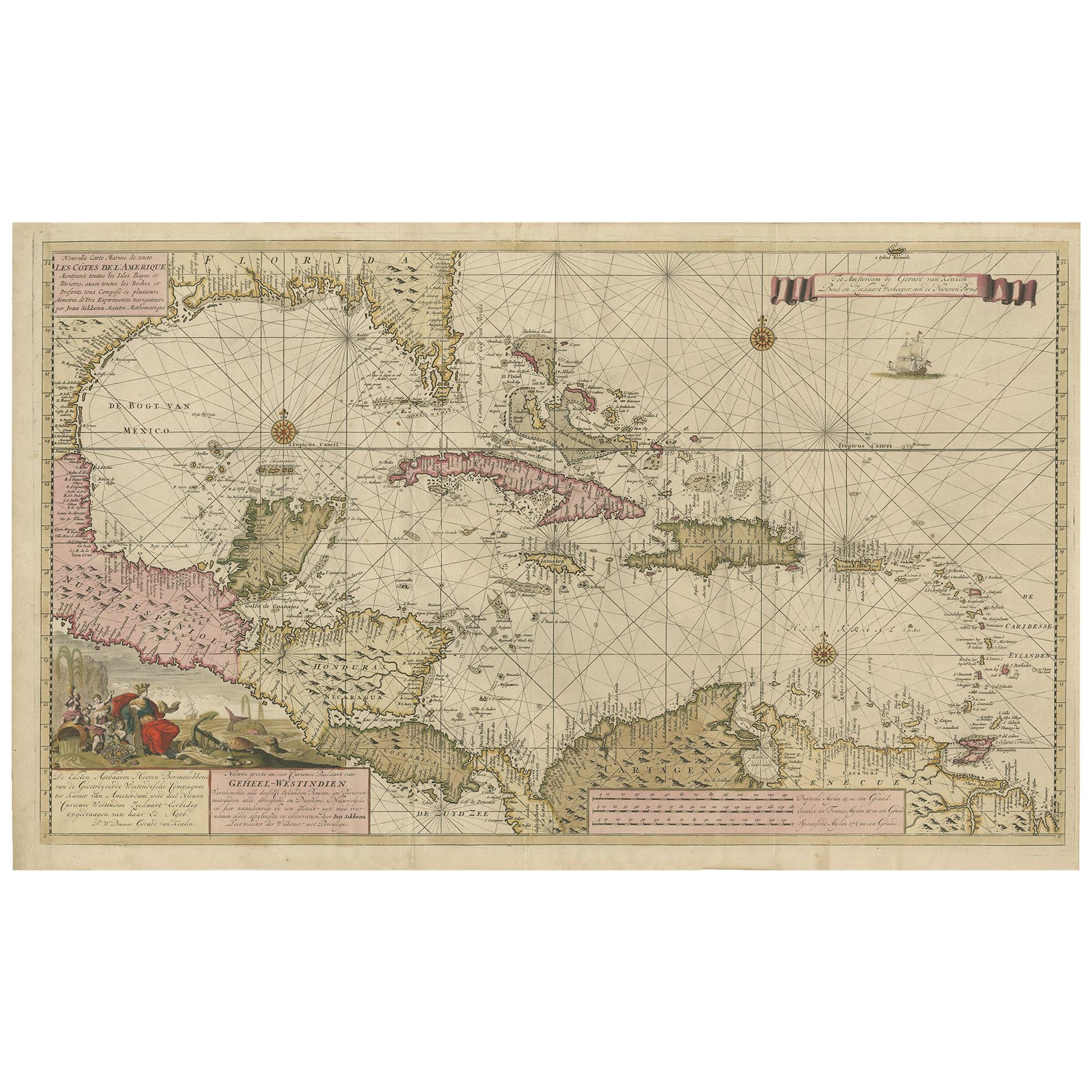 Map of Florida, the Gulf Coast, Caribbean and Central America, circa 1728