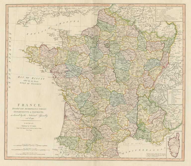 Antique map titled 'France divided into Metropolitan Circles (..)'. Large, original antique map of France, with a small inset of the island of Corsica. Published by W. Faden, 1792.