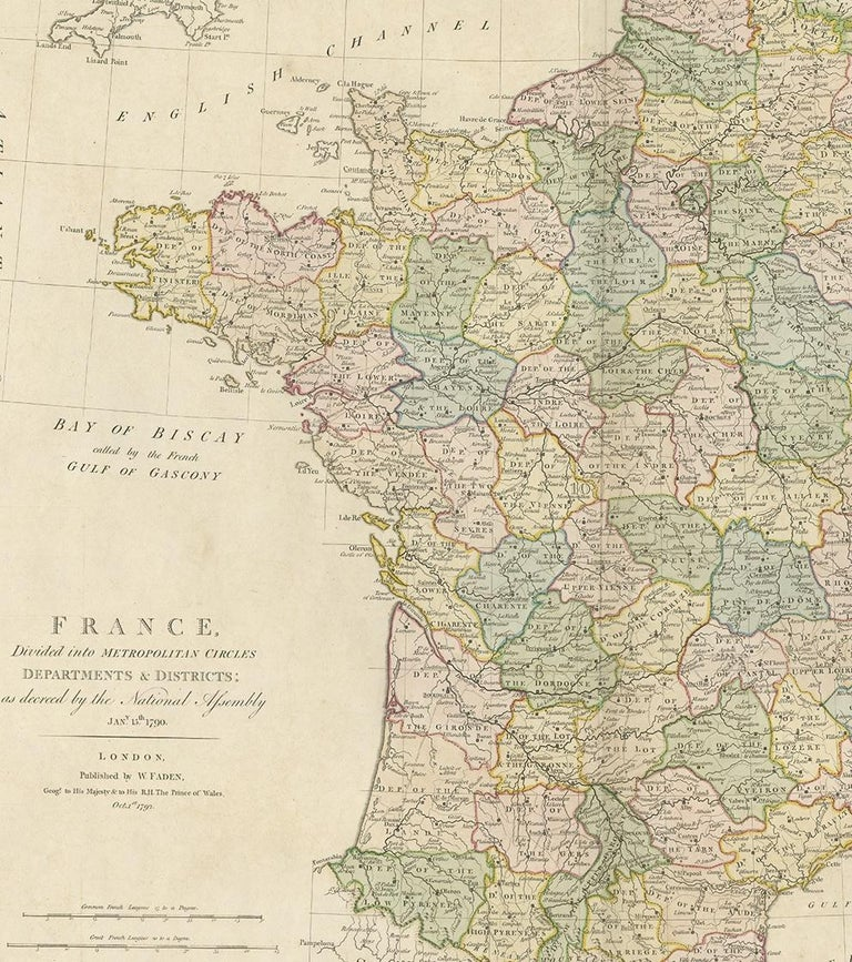 Antique Map of France by Faden '1792' In Good Condition For Sale In Langweer, NL