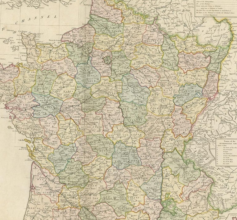 18th Century Antique Map of France by Faden '1792' For Sale