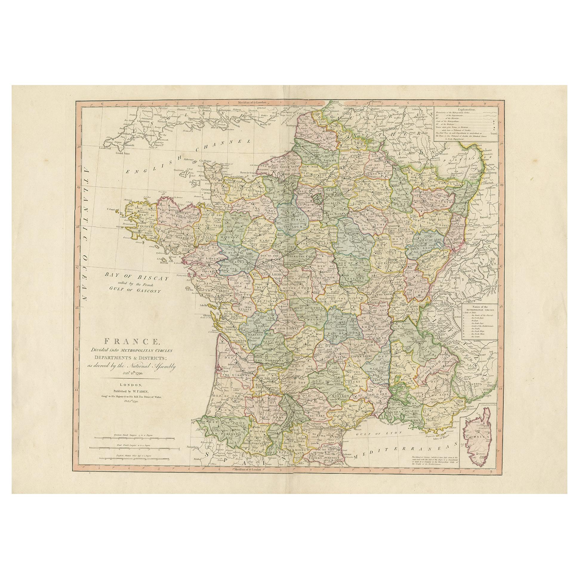Antique Map of France by Faden '1792'