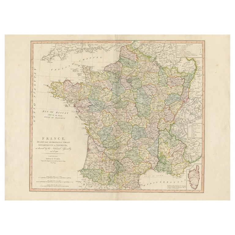 Antique Map of France by Faden '1792' For Sale