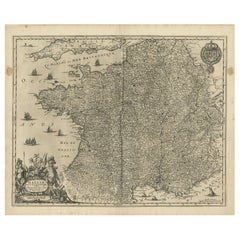 Antique Map of France by Janssonius, 1657