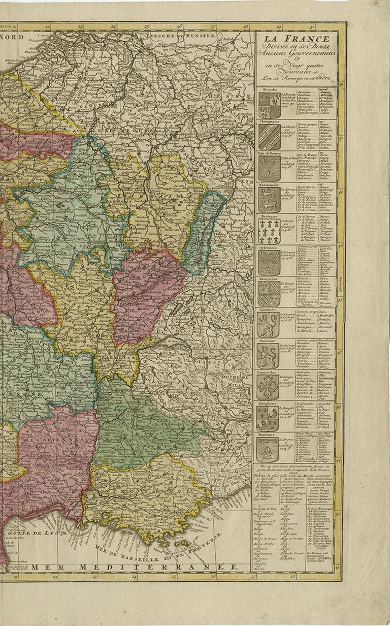 Antique Map of France by J.B. Elwe, 1792 In Good Condition For Sale In Langweer, NL