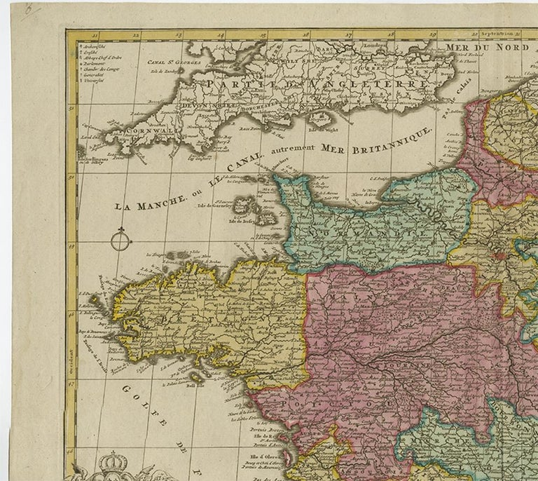 18th Century Antique Map of France by J.B. Elwe, 1792 For Sale