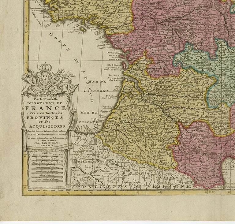 Paper Antique Map of France by J.B. Elwe, 1792 For Sale