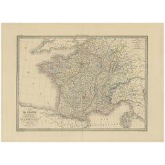 Antique Map of France by Lapie, 1842