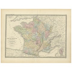 Antique Map of France by Levasseur '1875'