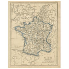 Antique Map of France by Lowry, '1852'