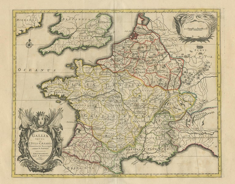 Antique map titled 'Gallia vetus ex C. Iulii Caesaris (..)'. Original antique map of France. Published by P. Mortier, c.1710.