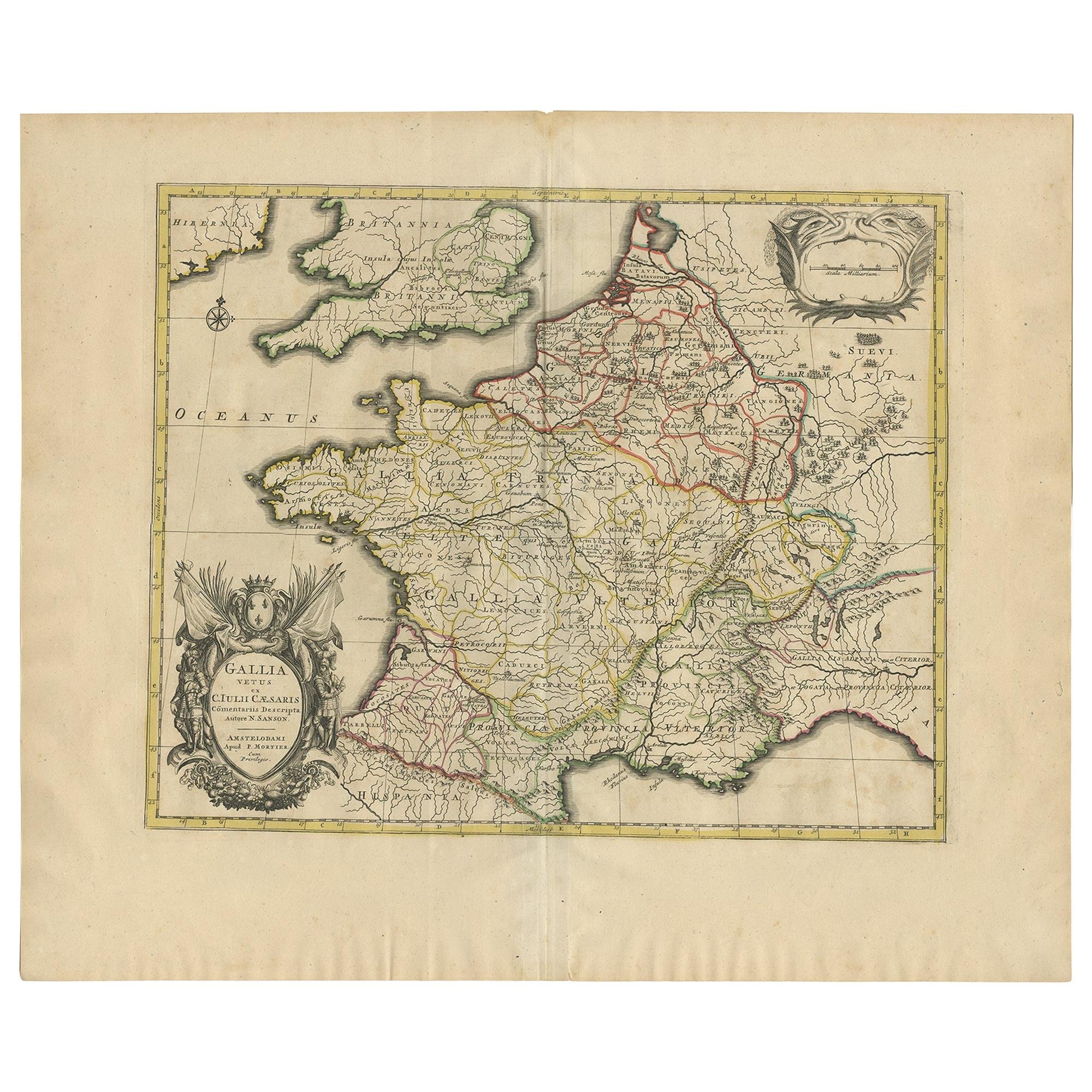 Antique Map of France by Mortier 'c.1710'