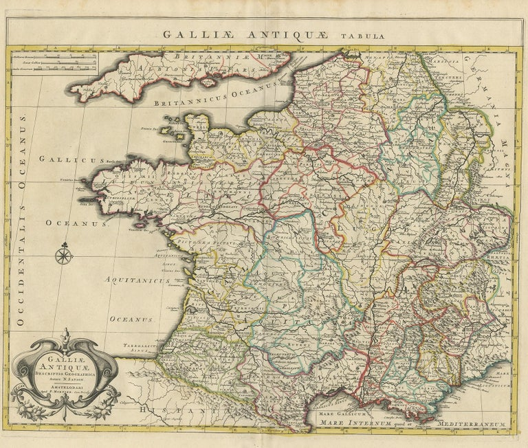 Antique map titled 'Galliae Antiquae Tabula'. Original antique map of France in ancient times. Published by P. Mortier, circa 1730.