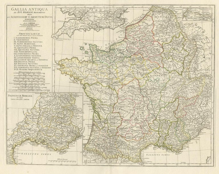 Antique map titled 'Gallia Antiqua ex Aevi Romani Monumentis (..)'. Original, large, map of France in ancient Roman times. Bottom left, a large inset shows Gallia's southern most Roman Provinces. Top right, a smaller inset can be found labeled