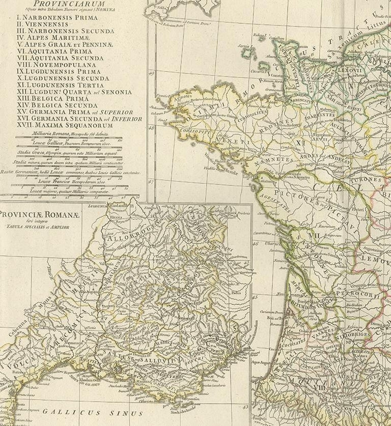 Antique Map of France in Ancient Roman Times by d'Anville 'c.1795' In Good Condition For Sale In Langweer, NL