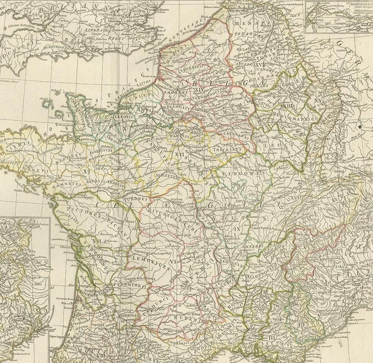 18th Century Antique Map of France in Ancient Roman Times by d'Anville 'c.1795' For Sale