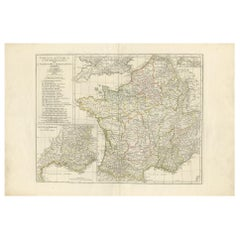 Antique Map of France in Ancient Roman Times by d'Anville 'c.1795'