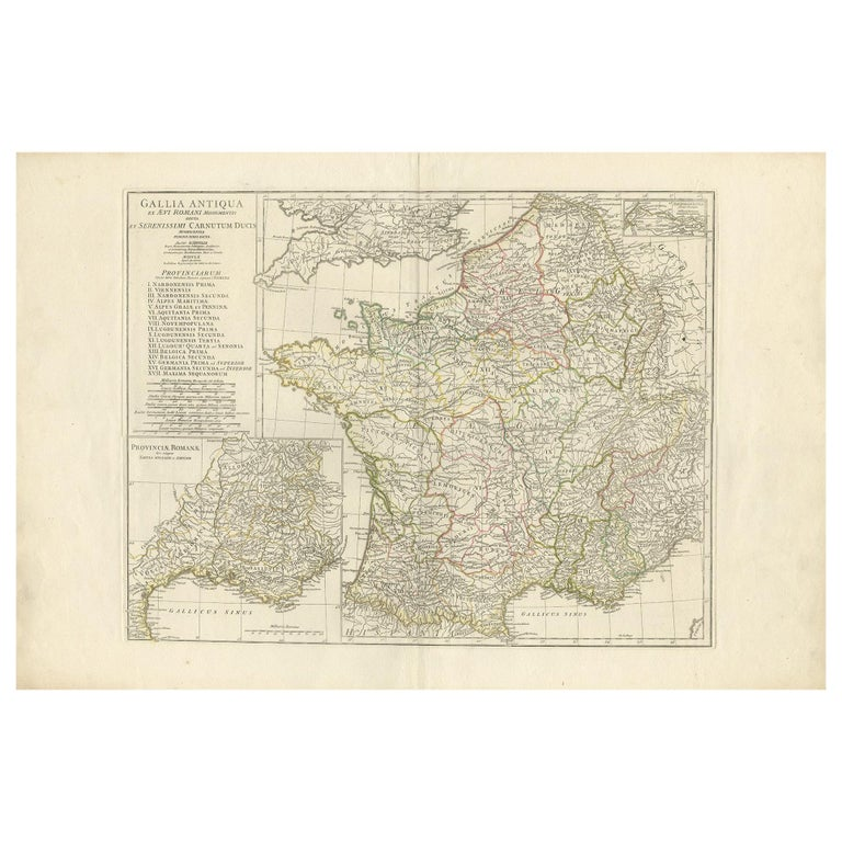 Antique Map of France in Ancient Roman Times by d'Anville 'c.1795' For Sale