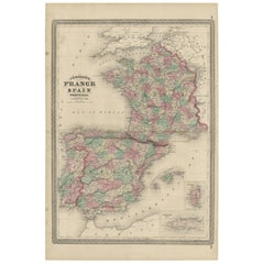 Antique Map of France, Spain and Portugal by Johnson, 1872