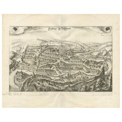 Antique Map of Fribourg/Freiburg 'Switzerland' by C. Merian, circa 1650