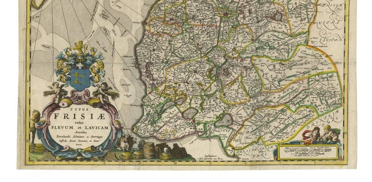 Hand-colored map of the Dutch province Friesland. Also shows the Wadden islands Vlieland, Terschelling and Ameland and a part of Schiermonnikoog. With a decorative cartouche with two putti, livestock and cheese and milk barrels. Four coats of arms