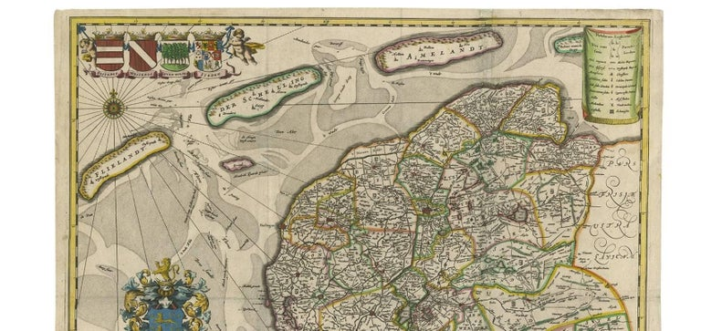 Antique Map of Friesland 'The Netherlands' by B. Schotanus, 1664 In Good Condition For Sale In Langweer, NL