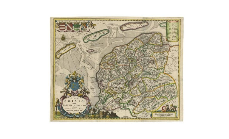 17th Century Antique Map of Friesland 'The Netherlands' by B. Schotanus, 1664 For Sale