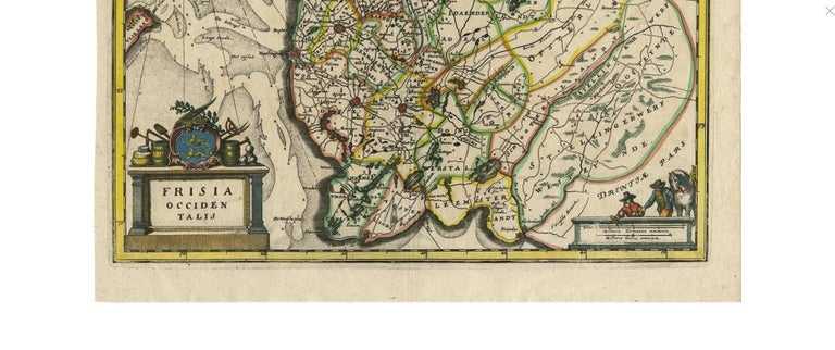 Beautiful antique hand-colored engraving of the province Friesland (The Netherlands) by C. Merian. This map originates from 'Topographia Germaniae Inferioris' published by M. Zeiler (1659).