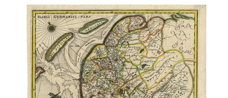 Antique Map of Friesland 'The Netherlands' by C. Merian, 1659 In Good Condition For Sale In Langweer, NL