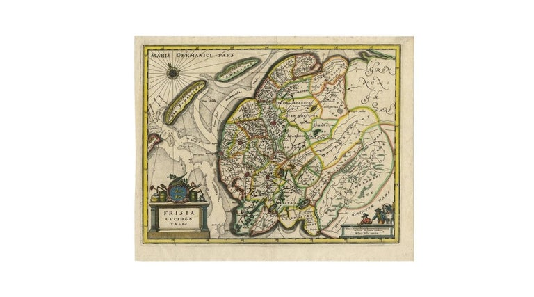 17th Century Antique Map of Friesland 'The Netherlands' by C. Merian, 1659 For Sale