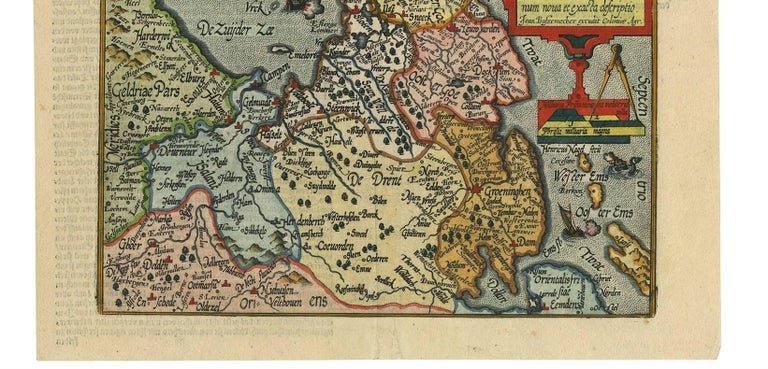 Antique Map of Friesland 'The Netherlands' by J. Bussemacher, 1596 In Good Condition For Sale In Langweer, NL