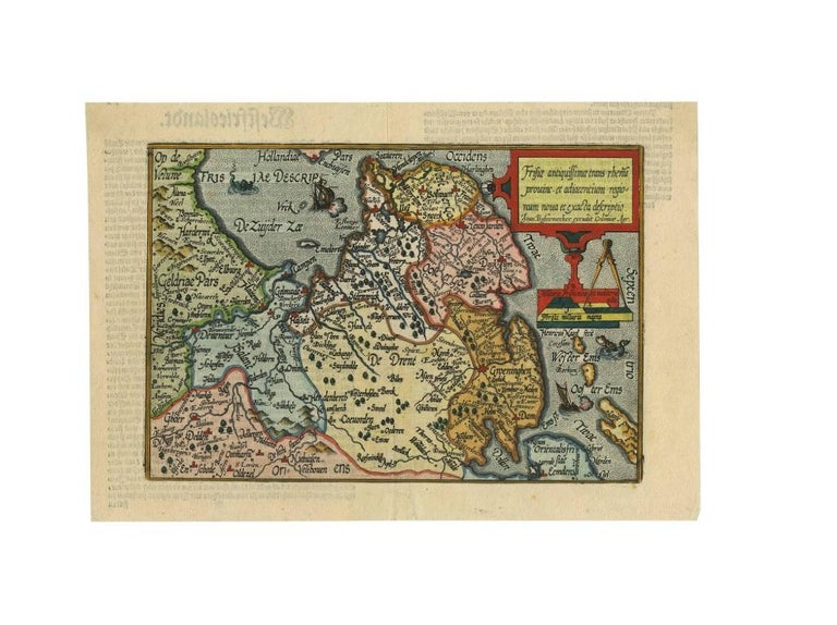 18th Century and Earlier Antique Map of Friesland 'The Netherlands' by J. Bussemacher, 1596 For Sale