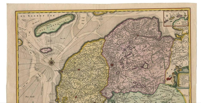 Antique Map of Friesland 'The Netherlands' by N. Visscher, circa 1670 In Good Condition For Sale In Langweer, NL