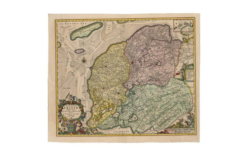 17th Century Antique Map of Friesland 'The Netherlands' by N. Visscher, circa 1670 For Sale