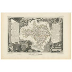 Antique Map of Gard 'France' by V. Levasseur, 1854