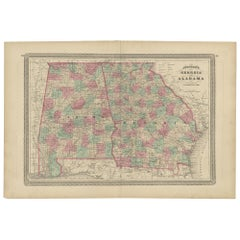 Antique Map of Georgia and Alabama by Johnson, 1872